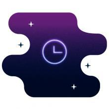 Clock on purple background